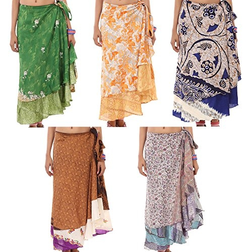 a992bdb749d7f RAJRANG Wholesale Lot Indian 2 Layer Pareo Wrap Around Boho Skirt for Women  Clothing Hippie Tie up Maxi Multi Color Long