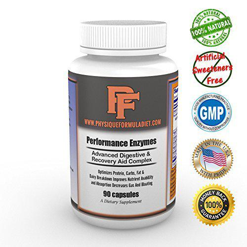 Physique Formula Performance Digestive Enzymes With Betaine HCL, Pancreatin  10X With Amylase, Protease, Lipase, Ox Bile Extract, Papaya Fruit Powder,