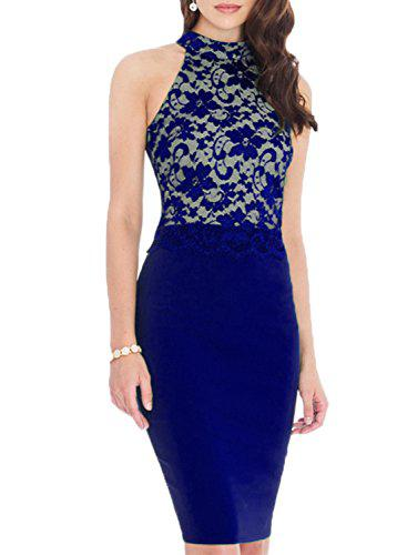 86ee223f457 WOOSEA Women s Elegant Sleeveless Floral Lace Vintage Midi Cocktail Party  Dress