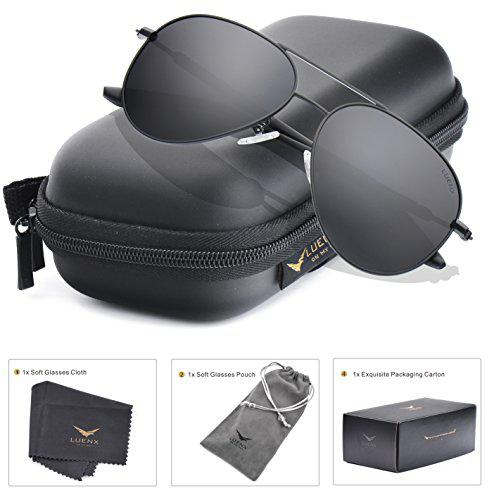 a7bce1b370 LUENX Men Aviator Sunglasses Polarized Women - UV 400 with case 60MM ...