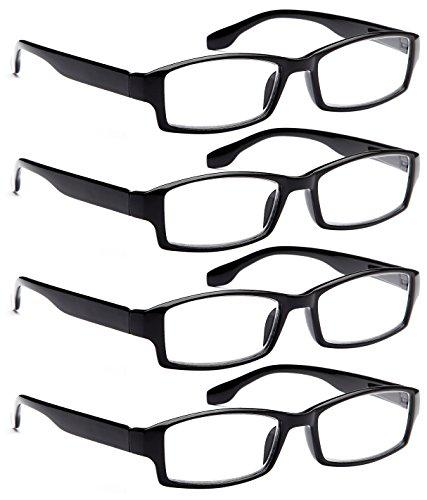 0ca189f7fba ALTEC VISION 4 Pack Spring Hinge Black Frame Readers Reading Glasses for Men  and Women - 1.25x