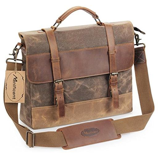 8aad4c8f7c81 Manificent 16 Inch Men's Messenger Bag, Vintage Waxed Canvas Genuine  Leather Large Satchel Shoulder Bag Waterproof Canvas Leather Computer  Laptop Bag, ...